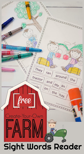 FREE Farm Sight words reader - this free printable is a great way for kids to practice building sentences and reading kindergarten sight words, first grade sight words, and 2nd grade. This is perfect for morning work, extra practice, summer learning, centers, homeschool, and more.