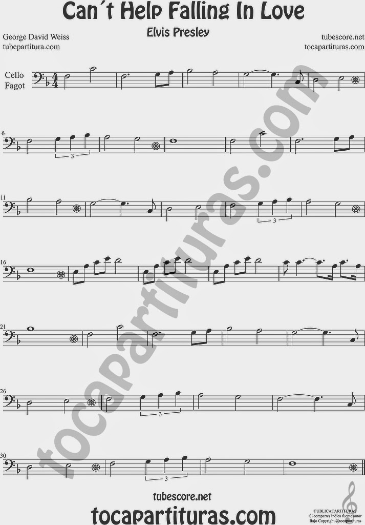 Can´t Help Falling in Love Partitura de Violonchelo y Fagot Sheet Music for Cello and Bassoon Music Scores