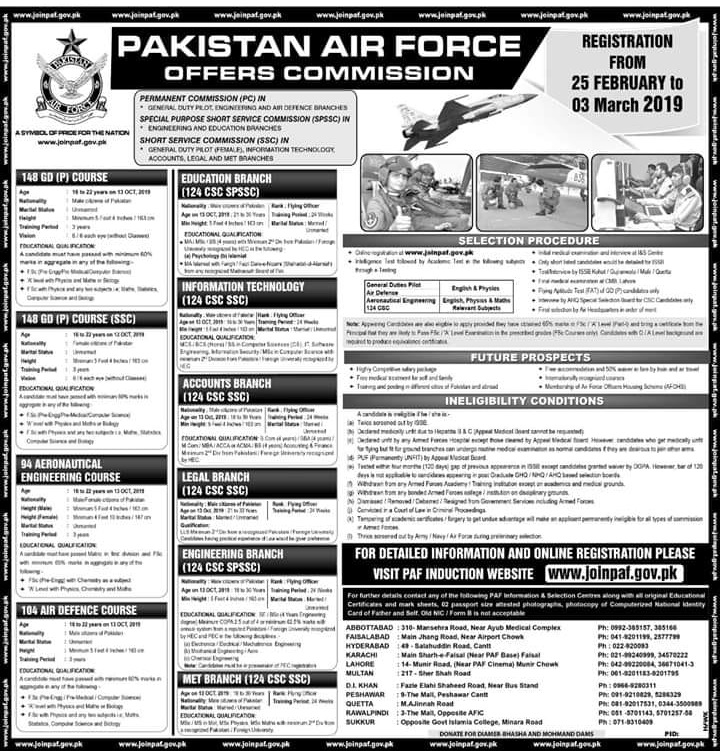 Join PAF , Join paf Comissioned Officer , paf commissioned officer jobs, PAF Commissioned Officer Jobs 2019 February | Join PAF AS PC/SPSSC/SSC