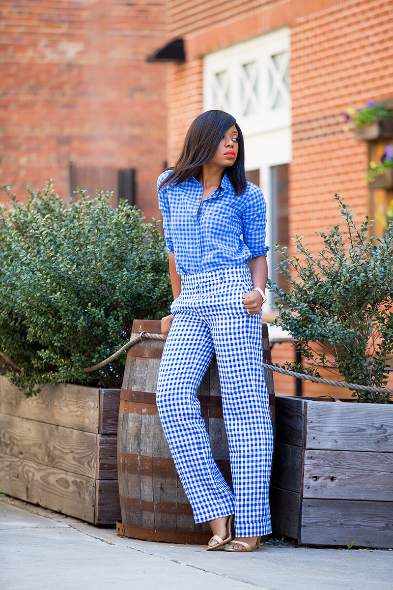 Jcrew gingham, schutz sandals, www.jadore-fashion.com