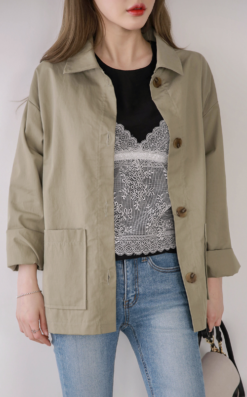 Collared Button Up Field Jacket