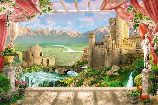 Castle Wall Murals 3D Room Cartoon Castle Tower WallPaper for Kids Children Livingroom Wall Mural Bedroom