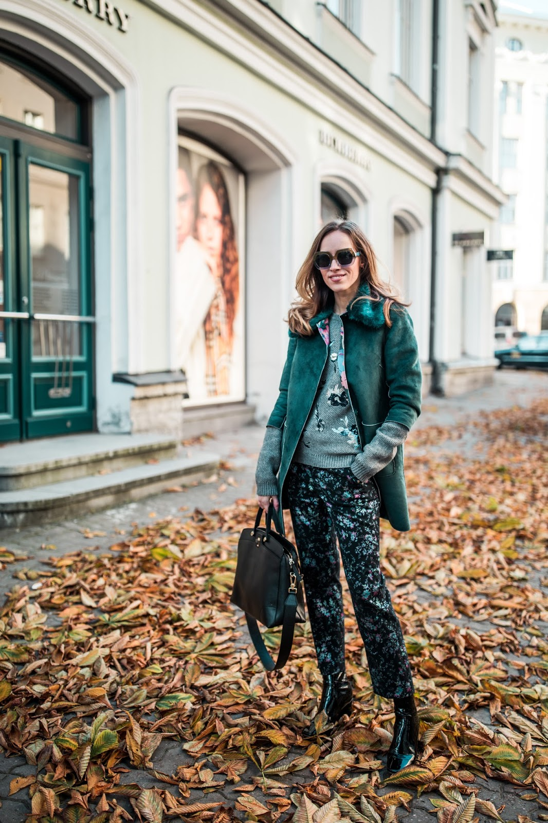 floral print trousers turquoise jacket fall outfit