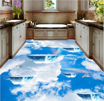 3D bathroom flooring of epoxy paint makes you above the sky