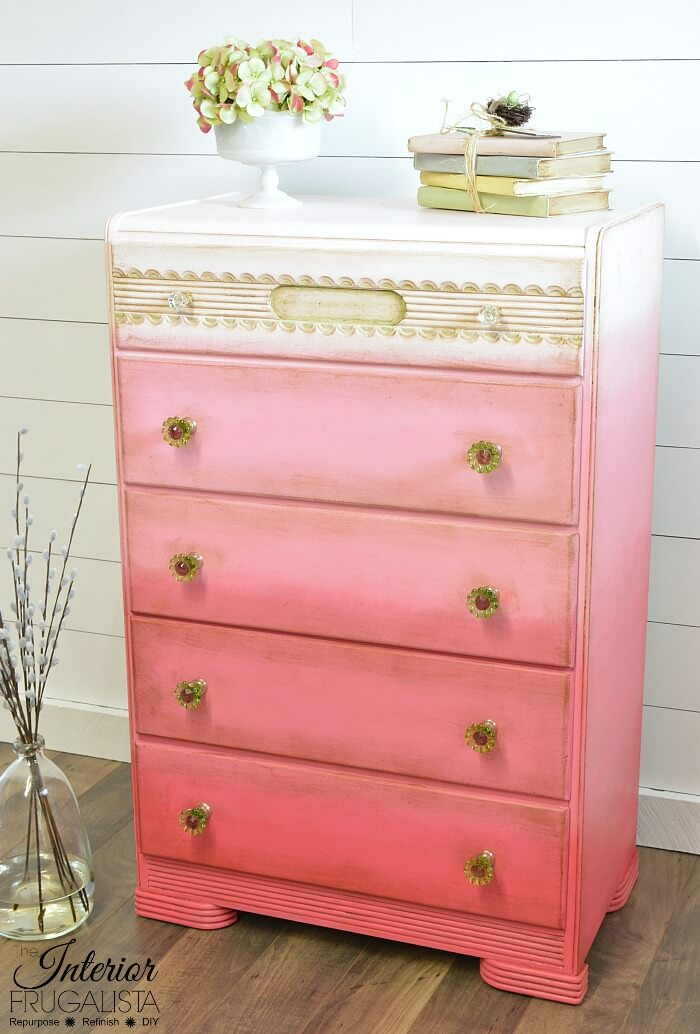 Pink Ombre Waterfall Dresser Makeover Angled