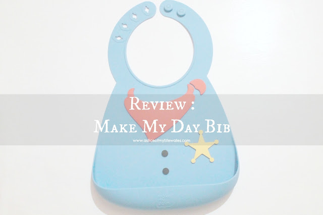 review make my day bib  blog header photo blue silicone sheriff bib with crumb catcher