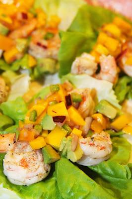 ... Love of Food: Tropical Shrimp Lettuce Wraps with Mango Avocado Salsa