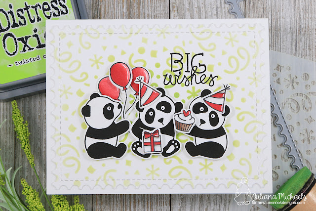 Big Wishes Birthday Card by Juliana Michaels featuring Newton's Nook Designs Playful Panda Stamp Set and Confetti Stencil