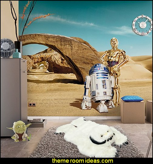 Star Wars R2D2 & C3PO Wallpaper mural Star Wars Bedrooms - Star Wars Furniture - Star Wars wall murals - Star Wars wall decals - Star Wars bed - space ships theme beds - Star Wars Bedroom - Star Wars Decor - Sci Fi theme bedrooms - alien theme bedrooms - Stormtrooper Star Wars Theme Beds - Star Wars bedroom decor