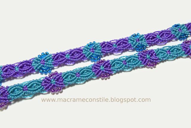 macrame bracciali gemelli azzurri particolare