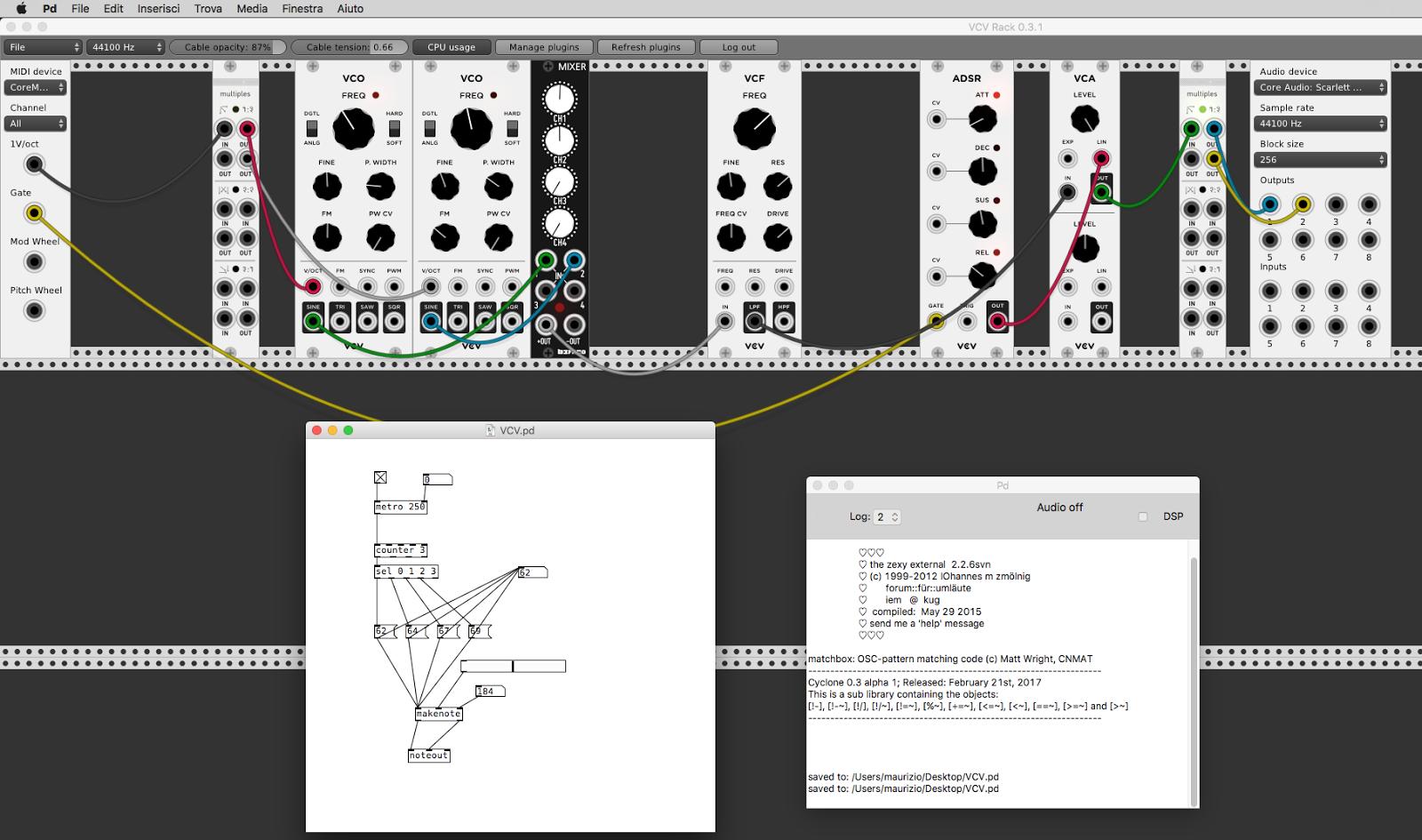 VCV-Rack :: Tutorial 03 :: Come scambiare audio e MIDI tra VCV-Rack