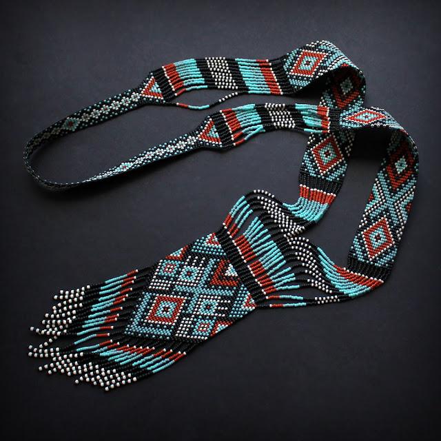 купить украшение из бисера в фольклорном стиле гердан из бисера купить этнические украшения