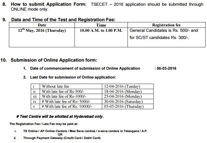 Telangana ECET Notification  2017 Apply Online