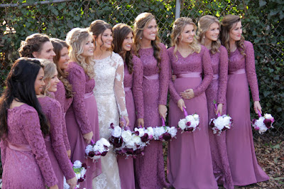 Tori Bates and her 10 bridesmaids
