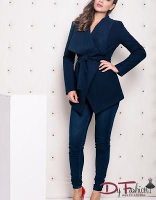 Palton dama albastru ieftin