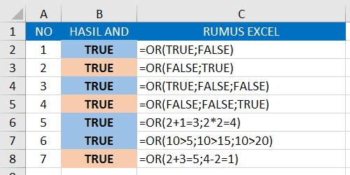 Contoh Rumus OR Excel