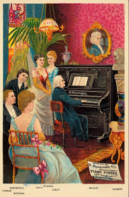 busts of Mozart and Wagner overlook parlor scene with Thomas, Rubenstein, Materna, and Nilsson listening to Liszt play