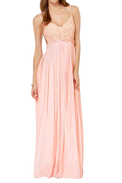paghetti Strap Backless Lace Pink Dress