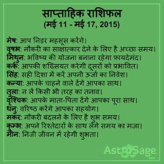 11 May se 17 May 2015 tak ane wale saptah me jaane apna bhavishya.