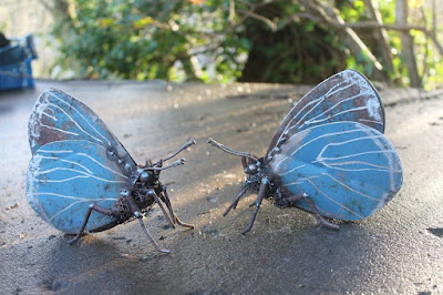 Mariposa azul con material reciclado