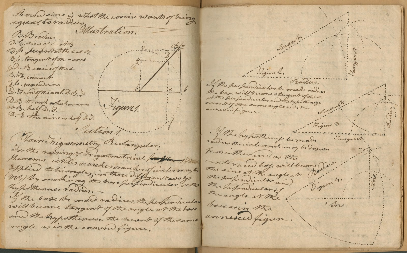 An open book of handwritten text and geometric figures.