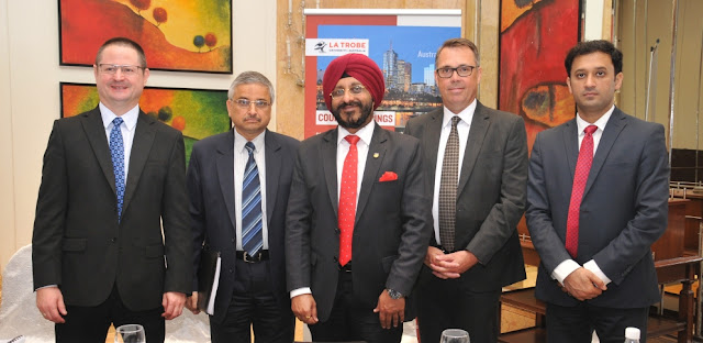 (L to R) Kelly Smith, Pro VC, La Trobe University_ Prof. Randeep Guleria, Director, AIIMS_ Prof. Dr. Gurinder Singh, Group VC, Amity University_ Prof. John Dewar, VC & President,