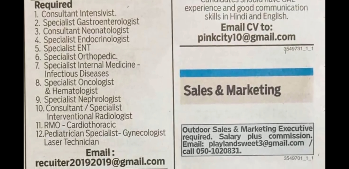 MANY REQUIREMENTS IN UAE - APPLY IMMEDIATELY - 18/05/2019