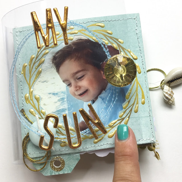 My Sun Mini Album by Angela Tombari using BoBunny Down by the Sea Collection