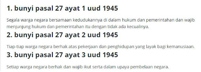 Bunyi Pasal 27 Ayat 1 2 3 UUD 1945 Lengkap Penjelasannya
