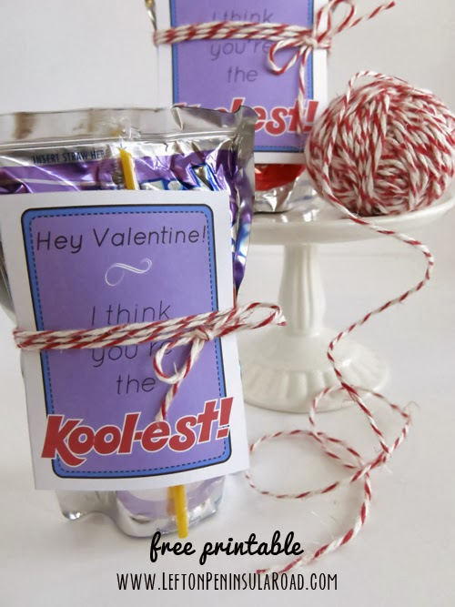 Kool-aid drink pouches plus simple printable card make easy diy Classroom Valentines.
