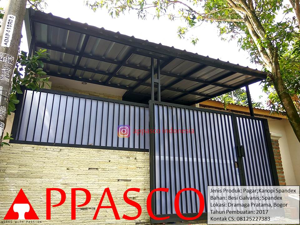 Pagar dan Kanopi Minimalis Spandek di Dramaga Pratama Bogor