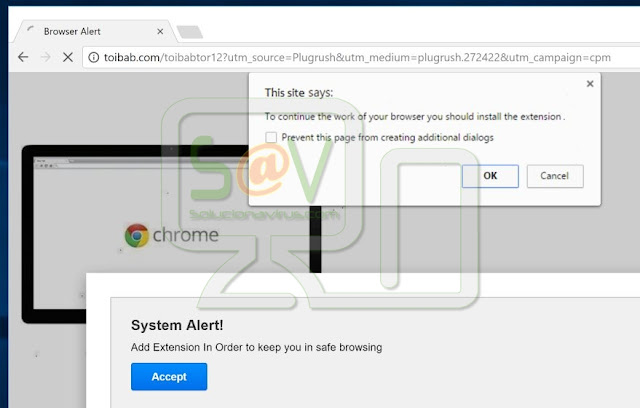 """System Alert! Add Extension In Order to keep you safe in browsing"" pop-ups"