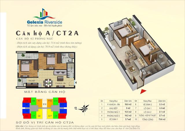 Căn hộ A - 2 phòng ngủ tòa CT2A chung cư Gelexia Riverside