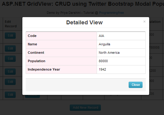 ASP NET: GridView CRUD using Twitter Bootstrap Modal Popup
