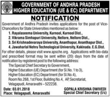 vc posts recruitment,apsche vcs recruitment,vice-chancellor posts,state-run universities,application form,eligibility criteria,lastdate,how to apply,selection of vice-chancellor apsche.org