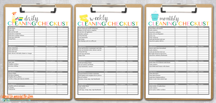 Free Cleaning Checklist Printables