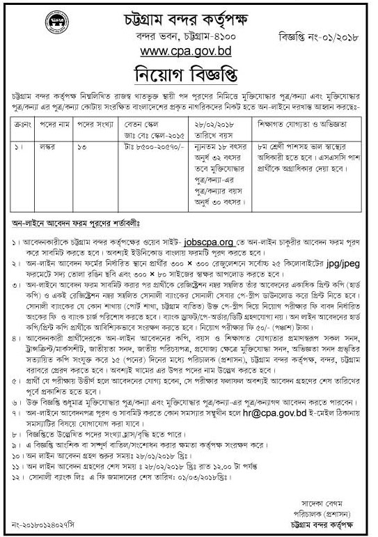 Chittagong Port Authority Laskar Job Circular 2018