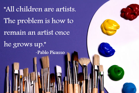 """All children are artists. The problem is how to remain an artist once he grows up."" -Pablo Picasso  www.HeartofMichelle.com"