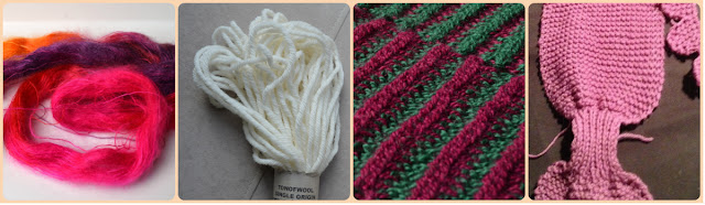 A collage of four photos depicting our craft time at the hospital. From left: untwisted hank of silk mohair in pink, purple and orange tones, ton of wool sample of cormo aran weight wool in natural creamy colour, close up of striped alpaca tricot scarf and close up of Cheryl's pink keyhole scarf in progress.