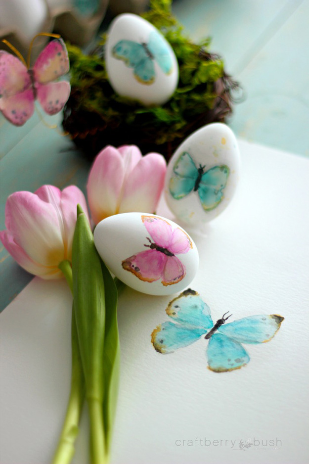 Watercolor Butterflies Easter Eggs