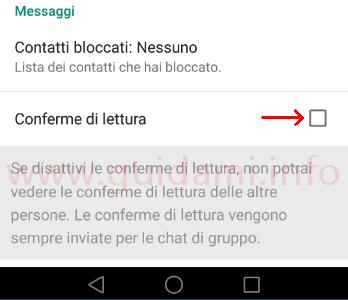 WhatsApp Conferme di lettura disattivate