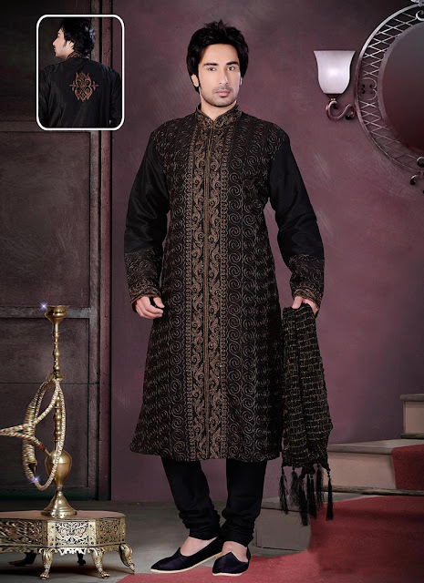 Fab Black Embroidered Kurta Pyjama