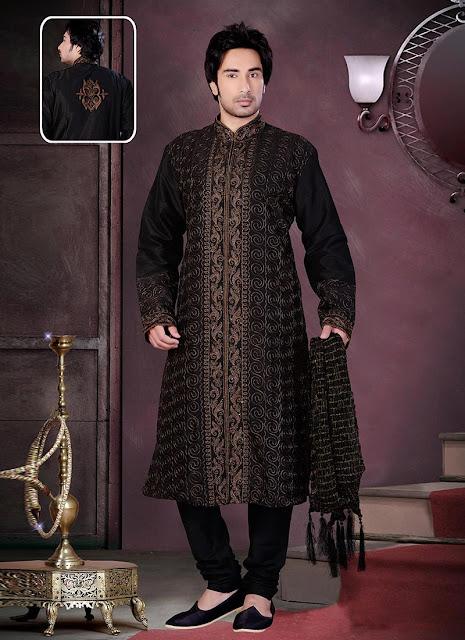 Fab Black Embroidered Kurta Pyjama