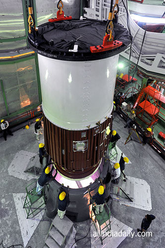 BOTTOM MOST SEGMENT OF PSLV-C22 BEING PLACED ON LAUNCH PEDESTAL