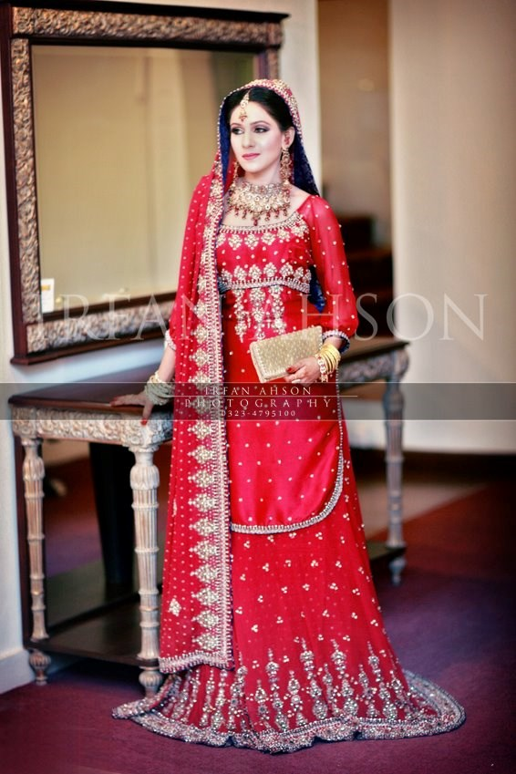 10 most inspirational Pakistani red color bridal dress 2016