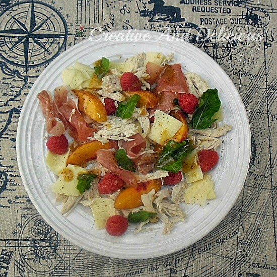 Nectarine Chicken and Prosciutto Salad ~ The BEST refreshing salad with a Honey Dressing and a family favorite ~ perfect for a light dinner or lunch ! #Salads #ChickenSalad