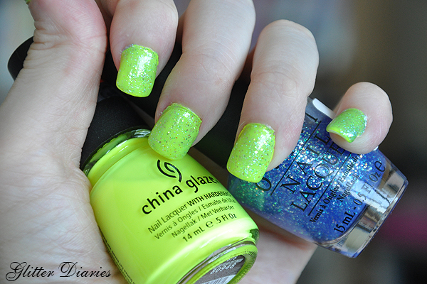 Notd Neon Yellow With Blue Green Glitter Glitter Diaries
