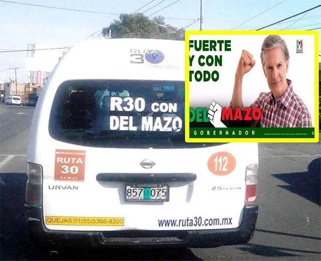 Aplican $8 mil de multa transportistas que no portan leyenda de apoyo a Alfredo del Mazo