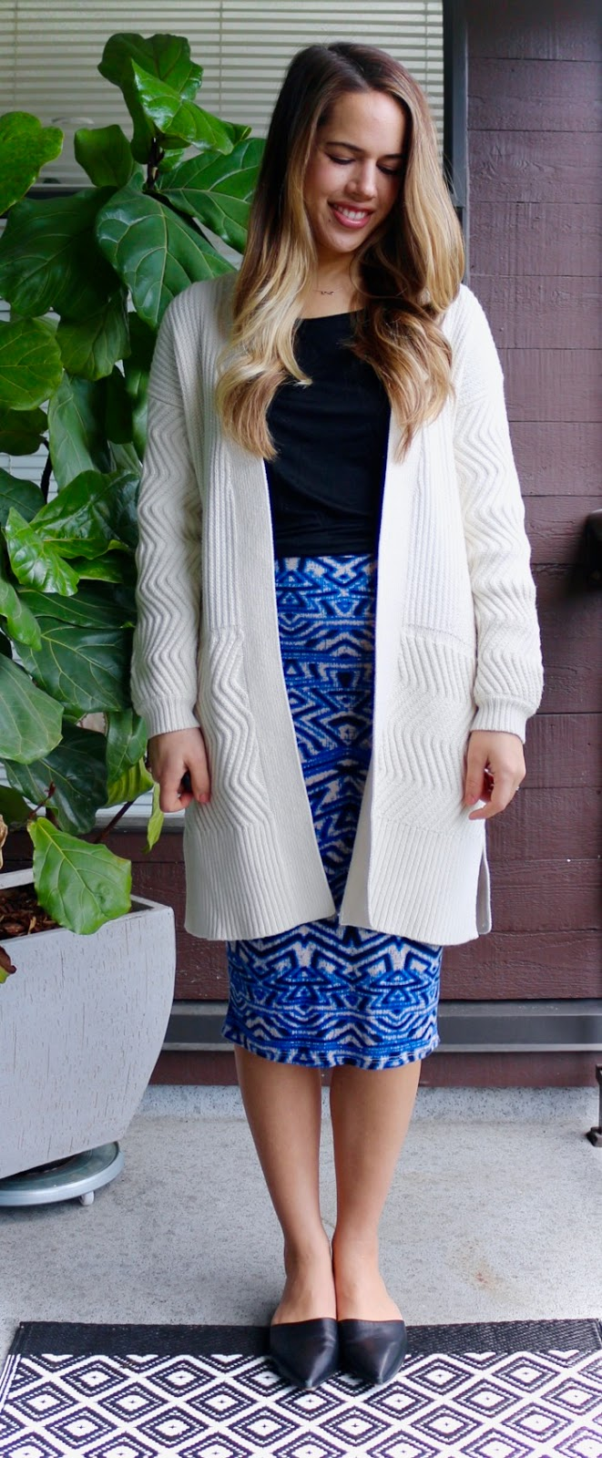 Jules in Flats - Tribal Midi Skirt with Oversized Open Front Cardigan