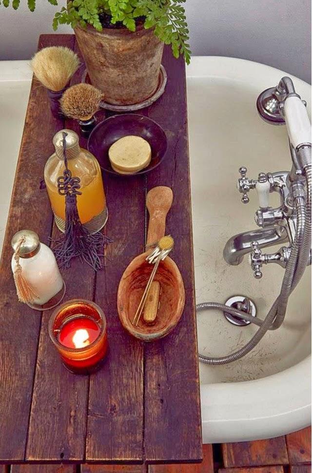 pont de baignoire bois vintage